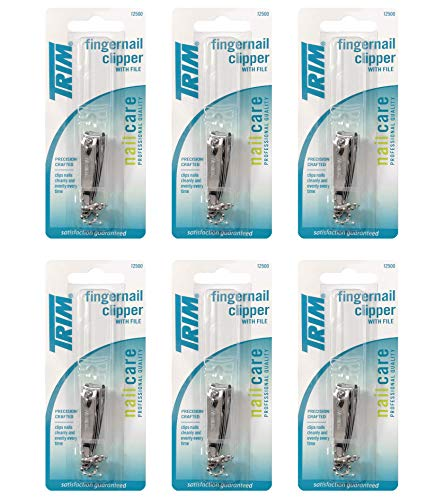 Beauty Shopping Trim Nailcare Fingernail Steel Clipper with File, Item Number 12500 (Pack of 6)