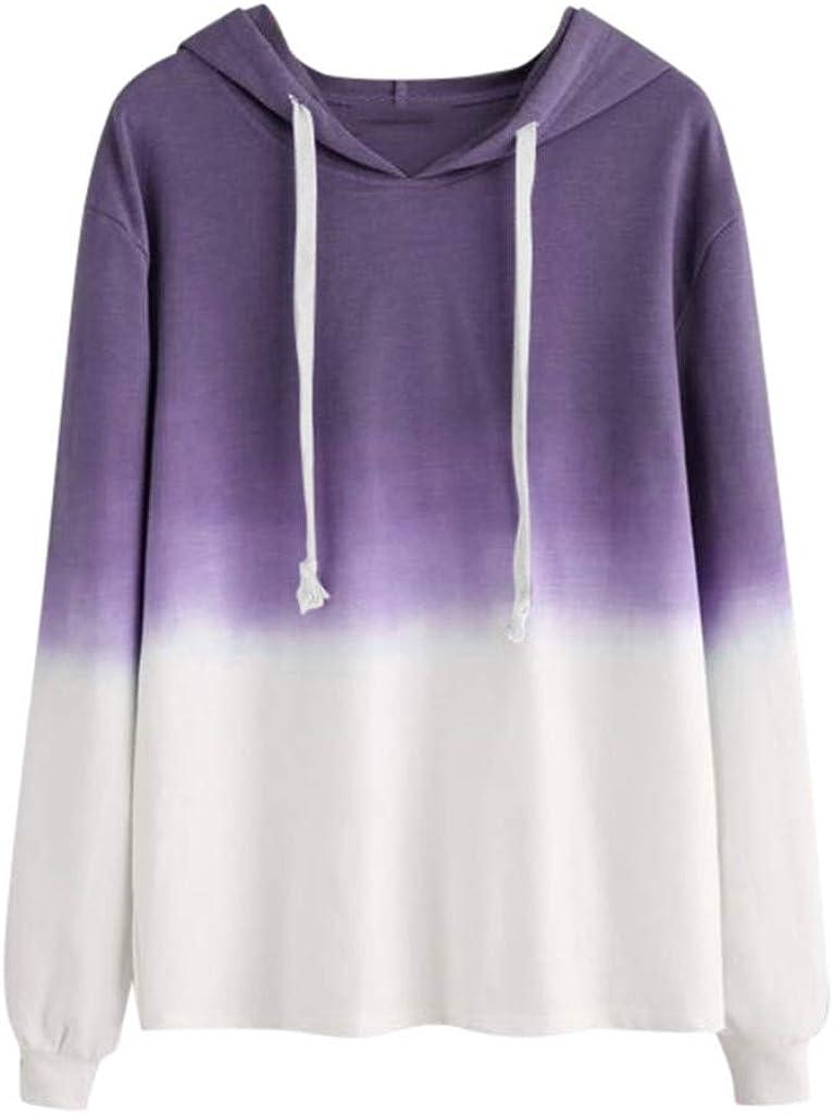 Hoodies for Teen Girls, Misaky Gradient Long Sleeve Casual Loose Pullover Hooded Sweatshirt Jumper Tops