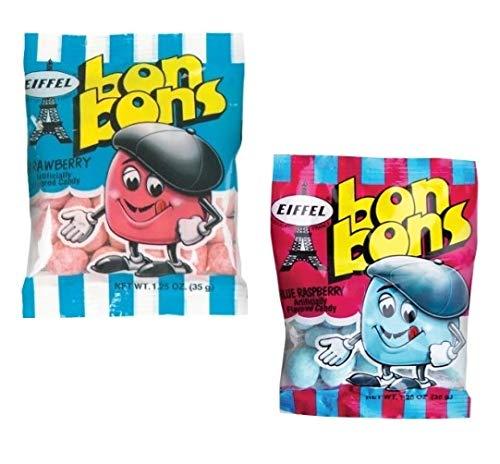 Eiffel Bon Bons 1.25oz 8 Bag Variety Snack Pack, French Candy (4 Strawberry, 4 Blue Raspberry)