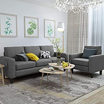 Mecor 2 Piece Living Room Sofa Set Modern Linen Fabric Couch Furniture Upholstered 3 Seat Sofa Couch and Single Sofa Chair for Living Room Bedroom Office Apartment Dorm and Small Space