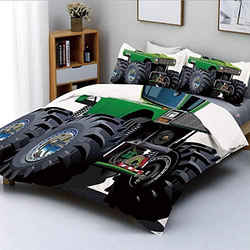 Juego de funda nórdica, camioneta Giant Monster con llantas grandes y suspensión Juego de sábanas decorativas de 3 ruedas con la impresión más grande y decorativa Juego de cama de 3 piezas con 2 funda