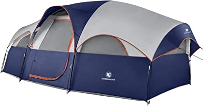 TOMOUNT 8 Person Tent - Professional Waterproof & Windproof Camping Tent, Solid & Portable with Carry Bag, Easy & Quick Setup,Double Layer, 5 Large Mesh for Ventilation