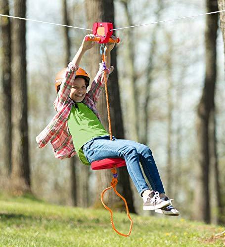 HearthSong 80' Red Backyard Zipline Kit Kids Outdoor Active Play Holds 250 lbs Adjustable Seat Non-Slip Handles Rubber Brake Hanging Hardware
