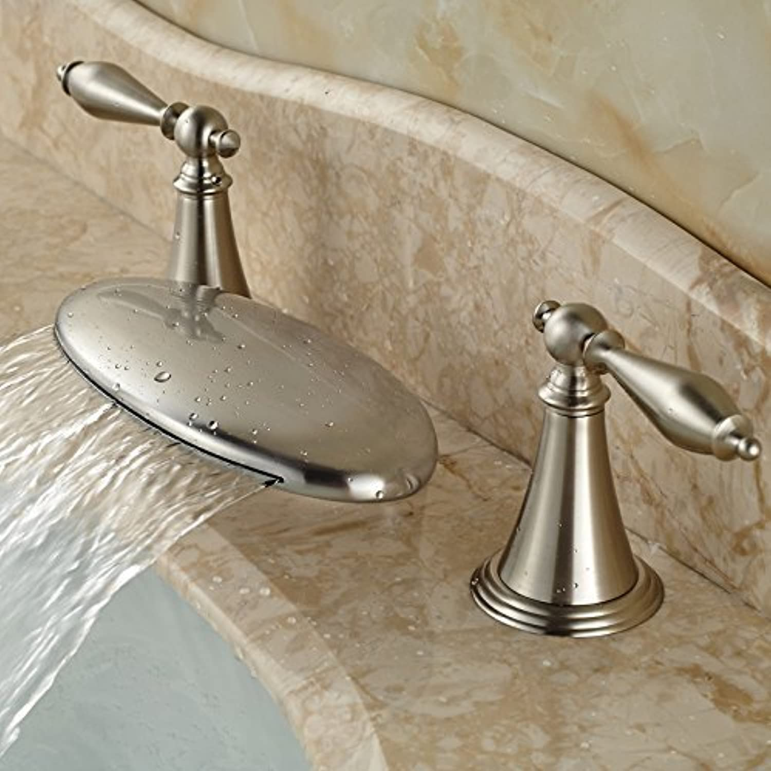 Type Fashionable threeholes Two Handles Faucet Sinks with hot and Cold Water taps Brushed