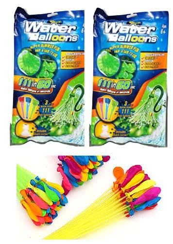 KIDSFUN 222 Water Balloons Fast Fill Self Tying Water Balloon Bombs Summer Toys Assorted Colour