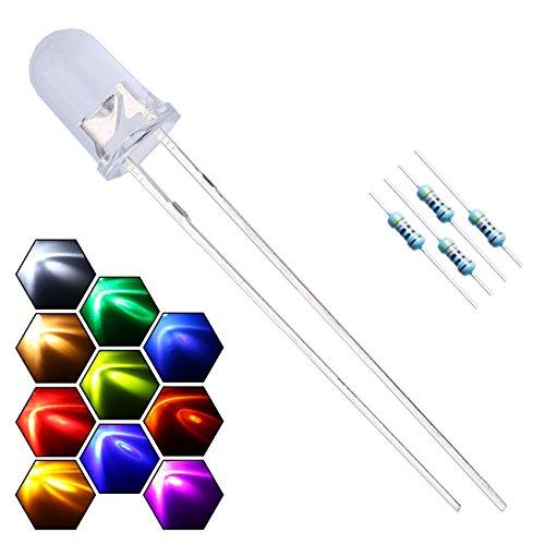 EDGELEC 200pcs 10 Colors x 20pcs 5mm LED Light Emitting Diode Assorted Kit 29mm Lead Clear Round Lamp White Red Blue Green Yellow UV Bright LEDs Bulb +300pcs Resistors for DC 6-12V Lights