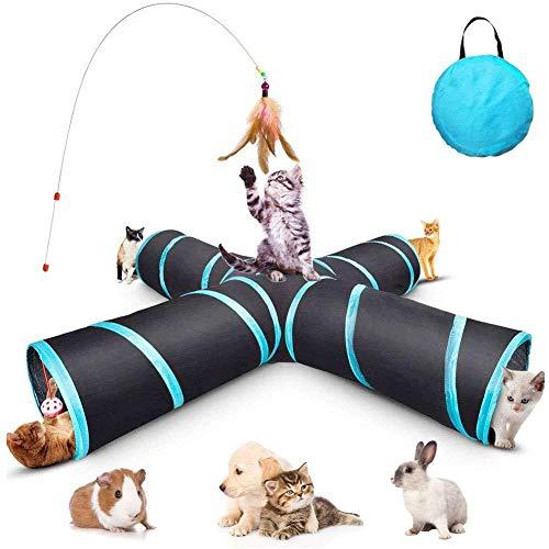 XQMY - Tunnel per gatti a 4 vie, per interni ed esterni, pieghevole, con borsa portaoggetti per gatti, cani, cuccioli, gattini, conigli,