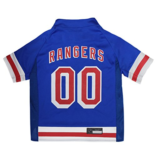 Pets First NHL New York Rangers NYR-4006-XXLNHL Pet Jersey - New York Rangers Dog Jersey, XX-Large. A Premium Big Jersey for Dogs & Cats to Look just Like The Real Hockey Player, Blue, XX-Large