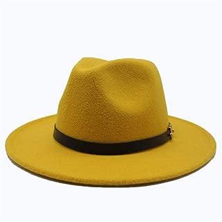 SGJFZD Men Women Wool Fedora Hat with Belt Autumn Jazz Hat Winter Church Trilby Fascinator Hat Size 56-58CM (Color : Yellow, Size : 56-58)