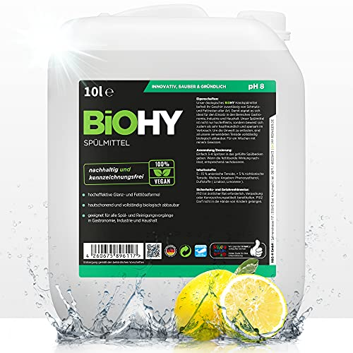 BiOHY Lavavajillas a mano (Bote de 10 litros) | Libre de fosfatos | libre de químicos dañinos y biodegradables | Adecuado para la restauración y el hogar (Spülmittel)