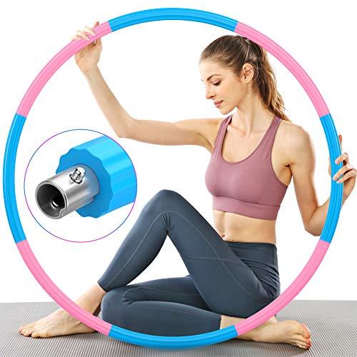 TTMOW Hula Reifen Hoop Erwachsene für Fitness, Verbesserter Hoola Reifen Edelstahlkern mit Dicker Premium Schaumstoff, Stabiler, Komfortabler und Längeres Leben, 1,2 kg zum Abnehmen (Pink - Blau)