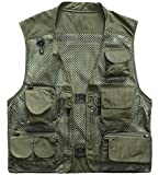Marsway Outdoor Quick-Dry Fishing Vest Multi Pockets Mesh Vest Fishing Hunting Waistcoat Travel Photography Jackets Green XX-Large