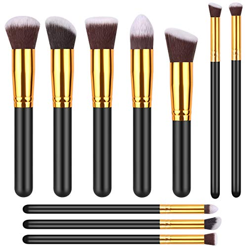 IYOCHO 10 Pcs makeup brushes makeup brush set synthetic foundation brush mixed powder blush concealer shadow makeup brush kit