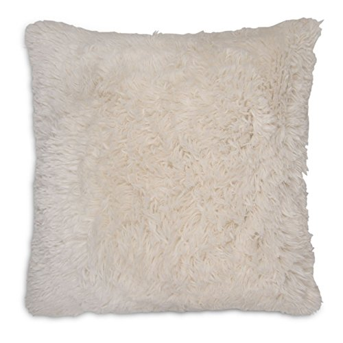 Adore Home Long Pile Super Soft and Cuddly Shaggy 17x17 (43x43cm) Cushion Cover (Cream)