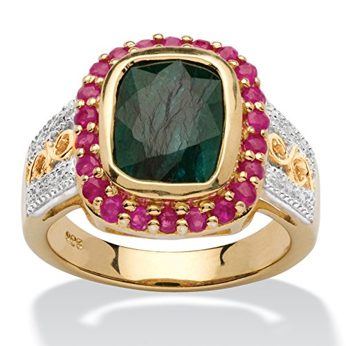 14K Yellow Gold over Sterling Silver Emerald Cut Genuine Green Emerald and Round Red Genuine Ruby Halo Ring Size 9