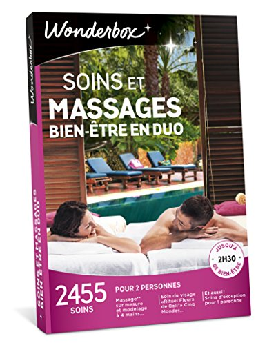 Wonderbox - Coffret cadeau - SOINS ET MASSAGES BIEN-ÊTRE EN DUO- 2455 soins, massages sur mesure, modelages, hammam, soins du visage pour 2 personnes