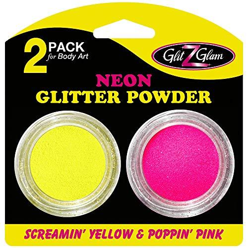 GlitZGlam Pack de 2 Pots de brillantine Couleur Néon Poppin' Pink et Screamin' Yellow