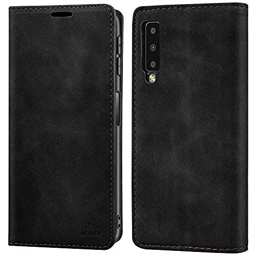 AFARER Einfache Art Brieftasche Handyhülle Kompatibel mit Samsung Galaxy A7 2018 - Schwarz