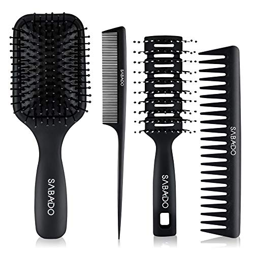 4Pcs Paddle Hair Brush, Detangling Brush and Hair Comb Set for Men and Women, Great On Wet or Dry Hair, No More Tangle Hairbrush for Long Thick Thin Curly Natural Hair (Black)