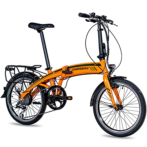 CHRISSON 20 Zoll E-Bike City Klapprad EF1 orange - E-Faltrad mit Ananda Nabenmotor 250W, 36V und 40 Nm, Pedelec Faltrad für Damen und Herren, praktisches Elektro Klappfahrrad, perfekt für die Stadt
