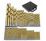 nuzamas 99piezas alta velocidad con revestimiento de titanio brocas helicoidales Set con funda de transporte caja tamaños 1,5mm–10mm