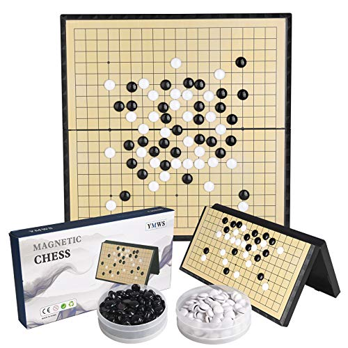 Magnetic Go Game Set 19x19 Chinese Chess Set (15-Inch) Portable with Magnetic Plastic Stones Portable and Travel Ready Set (Extra Large 38x38cm)