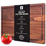 Walnut Cutting Board by Mevell, Large Wood Cutting Board for Kitchen, Reversible with Juice Groove,17x11