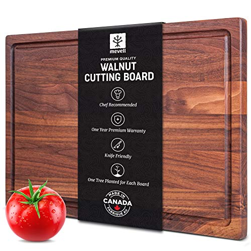 Walnut Cutting Board by Mevell, Reversible with Juice Groove,17x11
