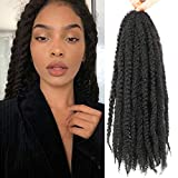6 Packs Marley Twist Braiding Hair 16Inch Cuban Twist Marley Hair For Faux Locs Marley Hair Crochet Braids 100% Kanekalon Synthetic Fiber Afro Kinky Hair Extensions (16inch, 1B)