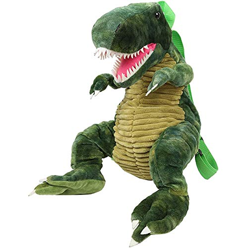 Dlcvko Mochila de Felpa de Dinosaurios, niño Verde, Dinosaurio 3D, Viaje, Animal, Lindo, cartón Animado, niño y niña
