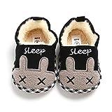 HsdsBebe Unisex Baby Fleece Slippers Infant Boys Girls Cartoon Soft Sole Anti-slip Moccasins - Toddler Stay on House Crib Shoes (6-12 Months Infant, D/rabbit black)