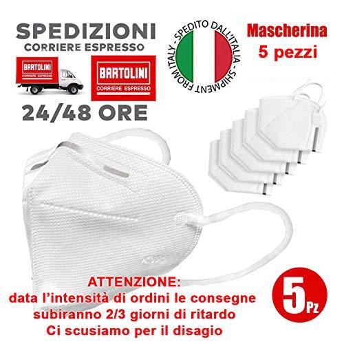 VENEZIANO Mascherine protettive Senza Valvola Morbide da Italia 24-48 Ore, Mascherina Morbida Antipolvere Marchio Enhance (5 mascherine)