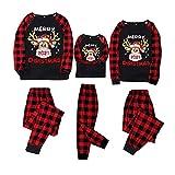 Alueeu Pijamas de Navidad Familia Conjunto El nuevo Suave y Cómodo Mamá Papá Niños Bebé Manga Larga con Estampado Pijamas Navidenos Mono riou