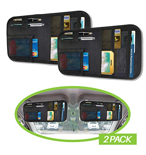 Lukling Car Sun Visor Organizer with 4 Pockets and 2 Pen Holders (2 Pack)