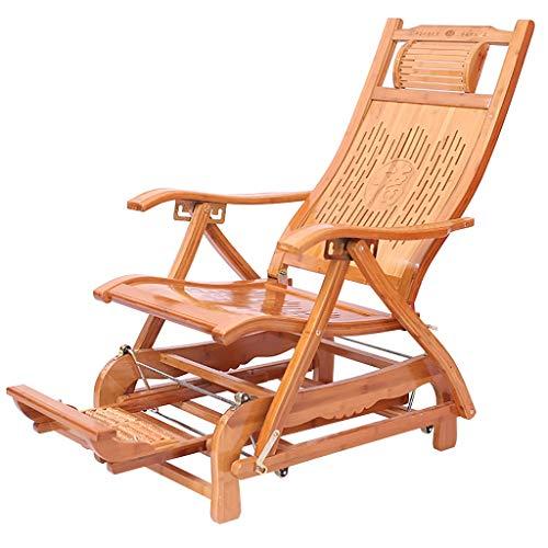 Lw yychair schommelstoel bamboe zonnebed tuinstoel ligstoel comfortabel ontspannen ligstoel voor tuin of terras in natuurlijke