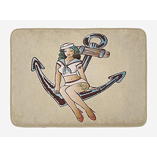 May-XCustom-Fußmatte, Fußmatte, Anker-Badematte, Pinup Girl mit Matrosen-Outfit, Hai und Herz-Tattoo, Vintage-Stil, Zwanzigerjahres-Illustration, Plüsch, mit Rutschfester Unterseite, 60 x 40 cm