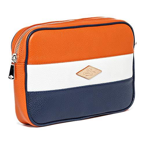Bob Carlton – Bolso para hombre de negocios 29 x 19 x 4 cm – Bolso de piel para hombre – Elegancia Casual (cuero granulado naranja, blanco, azul marino