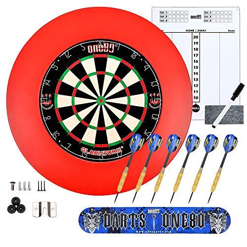 ONE80 Dart Turnier Set, Dartboard aus Brasilianischen Sisal, Dartboard Auffangring, 2 Sets Dartspfeile, Dart Oche und EIN Scoreboard