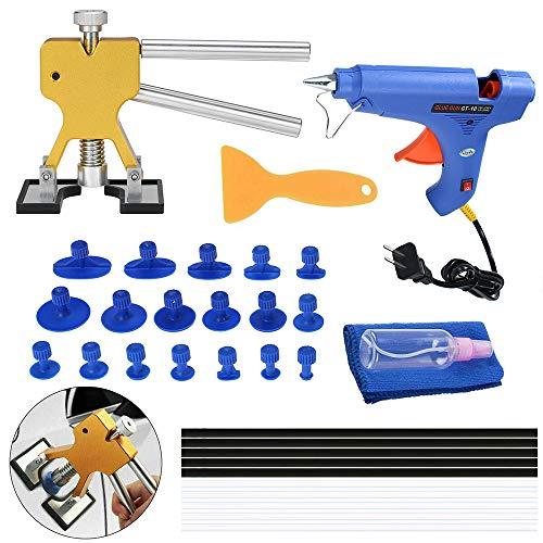 KKmoon Auto dellen reparaturset, Paintless Dent Repair Tools Kit Dent Lifter Abzieher Klebestreifen Klebepistole Werkzeuge Klebestifte 33 Stück EU-Stecker
