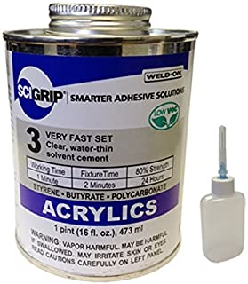 IPS Weld-On 3 Acrylic Plastic Cement with Pint and Weld-On Applicator Bottle with Needle, Clear (1)