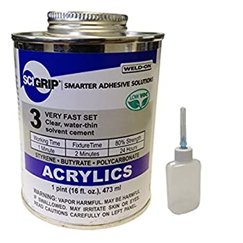 IPS Weld-On 3 Acrylic Plastic Cement 1 Pint and Weld-On Applicator Bottle with Needle Clear  1