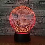 Ilusión óptica 3D Bus Interruptor táctil de luz nocturna y control remoto...