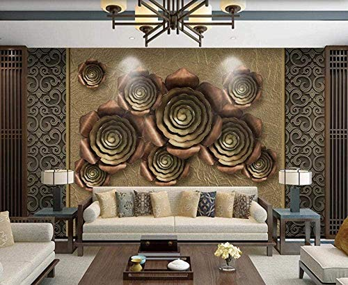 Golden Rose Soft Pocket Non-Woven Wallpaper 3D Wall Papers Wall Decoration Murals Living Room Custom 3D Wallpaper Paste Living Room The Wall for Bedroom Mural-350cm×256cm
