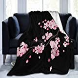 3D Japanese Cherry Blossoms Black Throw Blanket for Kids Baby Soft Fleece Blanket for Adults Men,Twin(60x80)