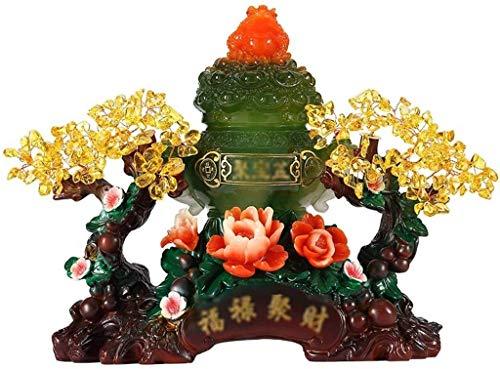 Feng Shui Citrine Crystal Tree Cornucopia Adornos Piedras preciosas Chakra Crystal Tree con bonsai Propiedades curativas Árbol del dinero Accesorios curativos y la suerte Esculturas decorativas