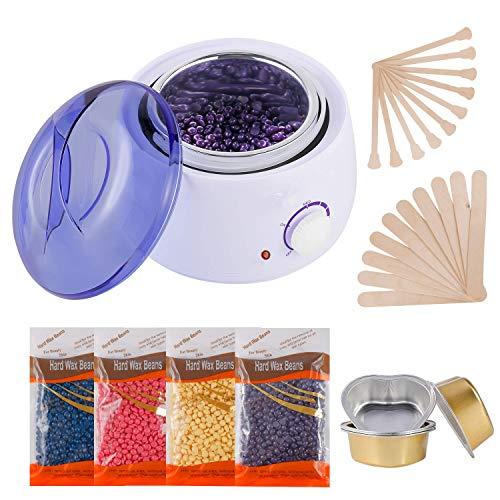 Hair Removal Waxing Kit Wax Heater Wax Pot Wax Warmer with 4 Packs of Hard Wax Beads 20 Spatulas,5...
