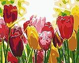 Lienzos Para Pintar Por Numeros Kits Flor De TulipáN Rojo DIY Cuadros para Pintar con Pinceles Y Pinturas Acrílicos Kits para Niños Principiante De Pintura sobre Lienzo Decoración 40x50 Cm