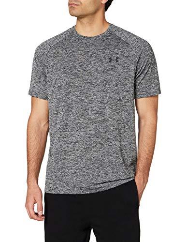 Under Armour Tech 2.0. Camiseta masculina, camiseta transpirable, ancha camiseta para gimnasio de manga corta y secado rápido, Gris (Gris/Negro) (002), L