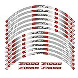 Tdz Equipos de Motociclismo Accesorios neumático de la Rueda del Borde de la decoración Adhesiva Reflectante de la Etiqueta engomada for Kawasaki Z1000 (Color : 230102)
