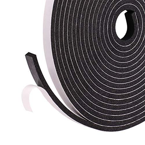 Selbstklebend Schaumstoff klebeband 6mm(B) x 3mm(D) x 15m(L) Schwarzes Dichtungsband Fensterdichtung für Tür Schalldämmung Anti-Kollision Gegen warme kalte Zugluft und Lärm